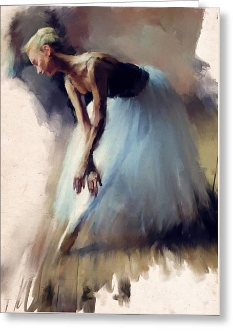 Dancer In Blue Greeting Card by H James Hoff