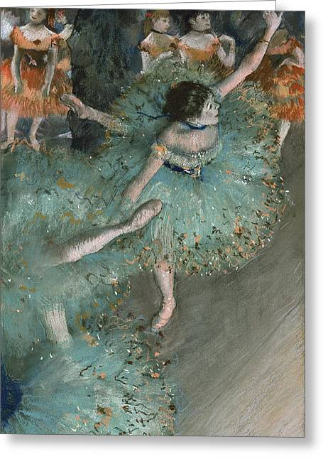 Dancer In Green Greeting Card by Edgar Degas