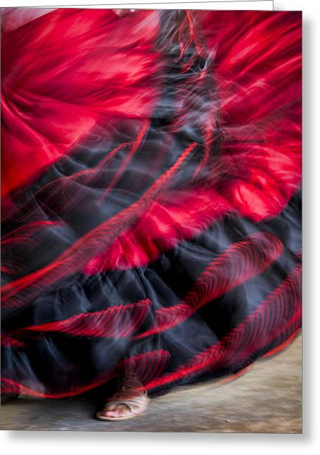 Satin Skirt Greeting Cards - Dancer in Red Greeting Card by Oscar Gutierrez