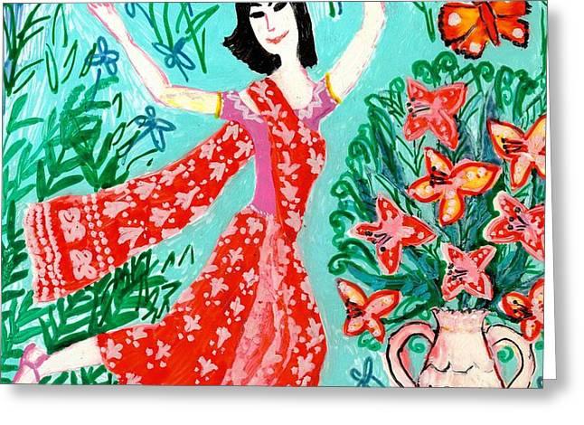 Dancer in red sari Greeting Card by Sushila Burgess