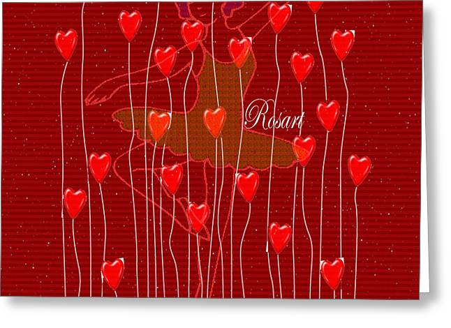 Ballet Dancers Greeting Cards - Dancer in the starry sky of red hearts  Greeting Card by Rosa Maria Intorre
