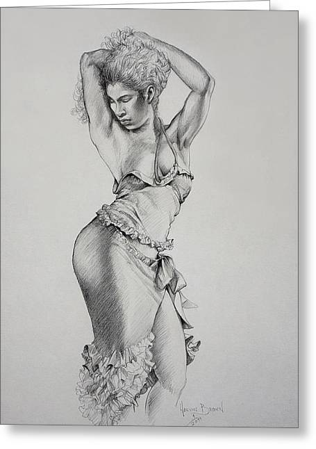 Dancer Muse Study Greeting Card by Harvie Brown