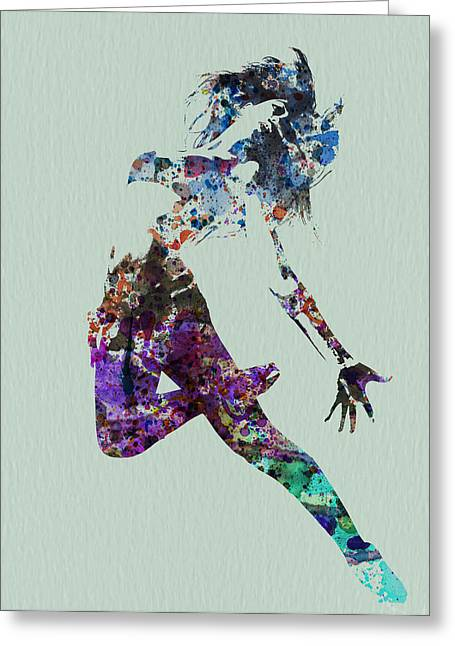 Dancer Art Greeting Cards - Dancer watercolor Greeting Card by Naxart Studio