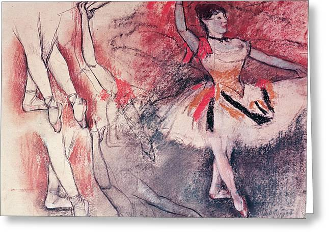 Dancing Girl Pastels Greeting Cards - Dancer with Tambourine or Spanish Dancer Greeting Card by Edgar Degas