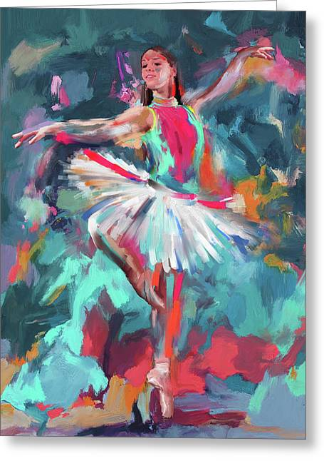 Dancers 280 2 Greeting Card by Mawra Tahreem