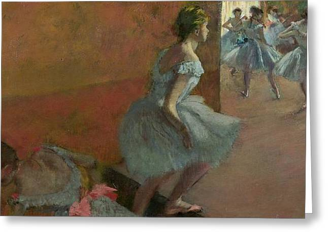 Danseuses Montant Un Escalier Greeting Cards - Dancers Ascending a Staircase Greeting Card by Edgar Degas