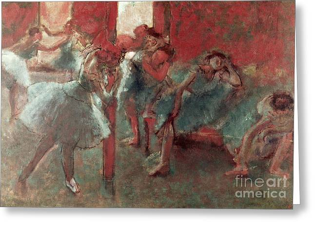 Ballet Dancers Greeting Cards - Dancers at Rehearsal Greeting Card by Edgar Degas