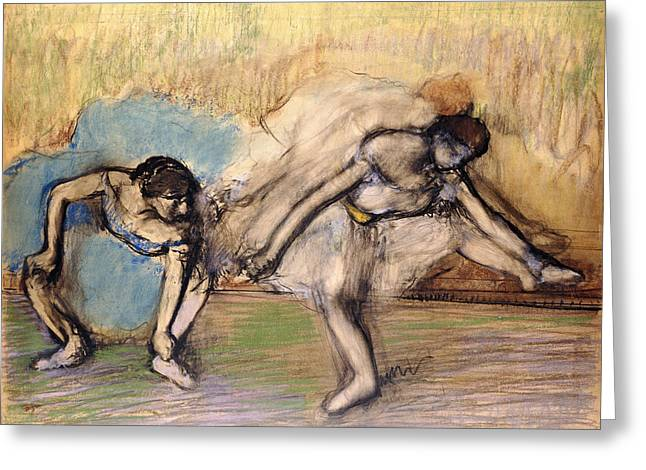 Dancing Girl Pastels Greeting Cards - Dancers At Rest Greeting Card by Edgar Degas