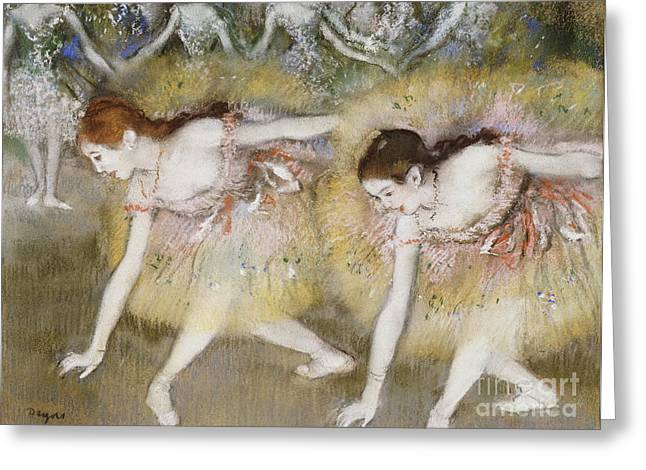 Tutus Paintings Greeting Cards - Dancers Bending Down Greeting Card by Edgar Degas