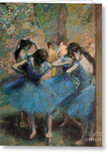 Tutus Paintings Greeting Cards - Dancers in blue Greeting Card by Edgar Degas