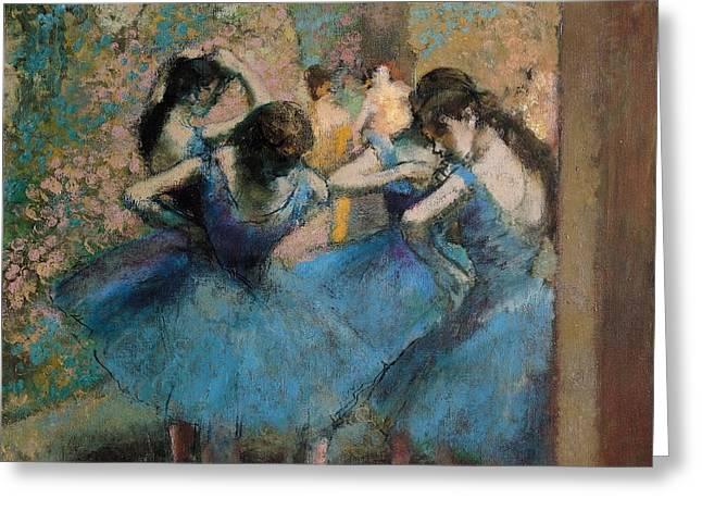 Dancers in blue Greeting Card by Edgar Degas