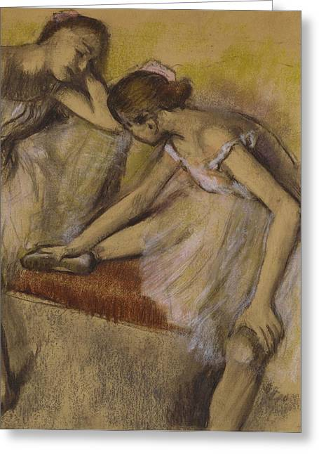 1834 Greeting Cards - Dancers in Repose Greeting Card by Edgar Degas