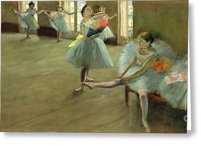 Tutus Paintings Greeting Cards - Dancers in the Classroom Greeting Card by Edgar Degas