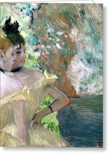Rehearsal Pastels Greeting Cards - Dancers in the Wings  Greeting Card by Edgar Degas