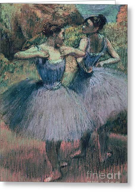 Dancing Girl Pastels Greeting Cards - Dancers in Violet  Greeting Card by Edgar Degas
