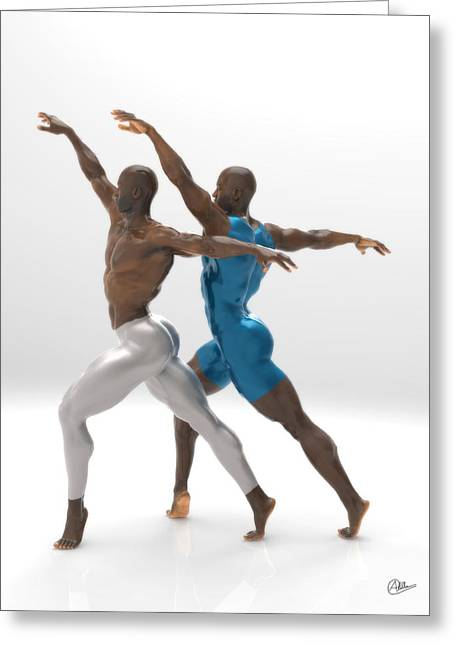 Ballet Dancers Mixed Media Greeting Cards - White and Blue Dancers Greeting Card by Quim Abella