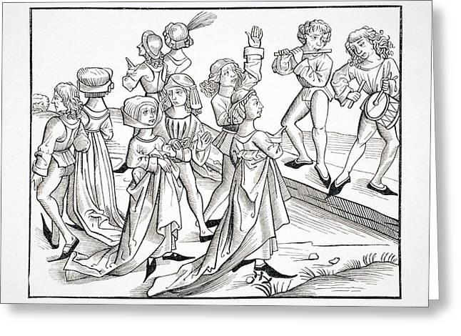 Apparel Greeting Cards - Dancers On Christmas Night Punished For Greeting Card by Vintage Design Pics