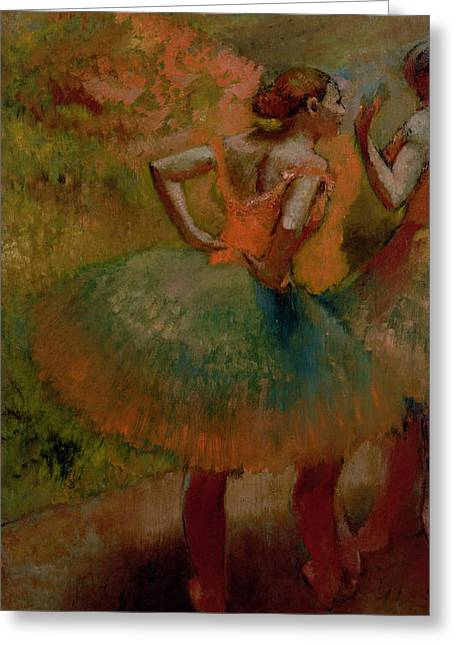 Canvas Pastels Greeting Cards - Dancers Wearing Green Skirts Greeting Card by Edgar Degas