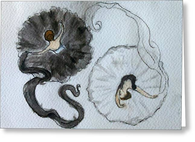 Yang Greeting Cards - Dancers Yin Yang Greeting Card by Jennie Hallbrown