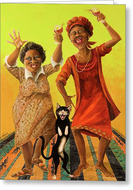 Red Cat Wine Greeting Cards - Dancin Cause its Tuesday Greeting Card by Shelly Wilkerson