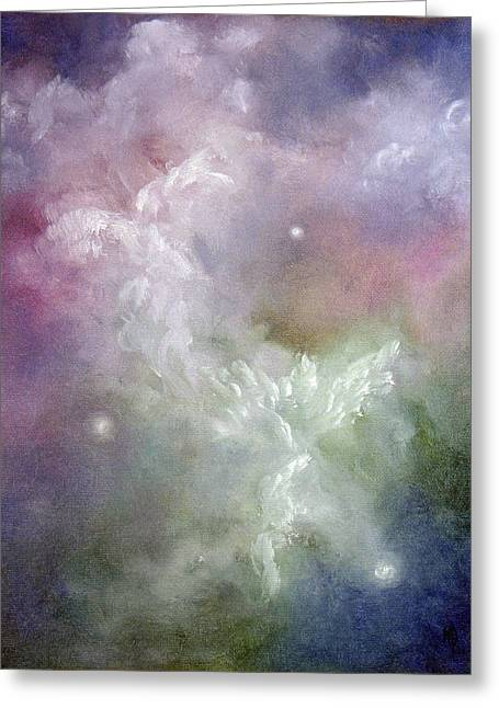 Religious Angel Art Greeting Cards - Dancing Angels Greeting Card by Marina Petro