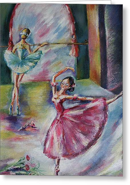 Best Sellers -  - Dance Ballet Roses Greeting Cards - Dancing Ballerinas Greeting Card by Khatuna Buzzell