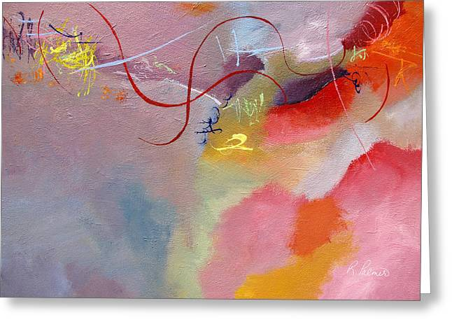 Yellow Line Greeting Cards - Dancing Breeze Greeting Card by Ruth Palmer