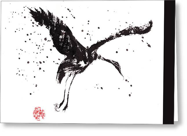Sumie Greeting Cards - Dancing Crane Greeting Card by Oiyee  At Oystudio