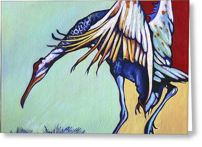 Sandhill Cranes Paintings Greeting Cards - Dancing Crane Greeting Card by Rose Collins
