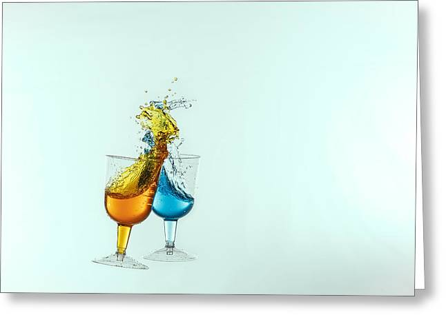 Champagne Glasses Greeting Cards - Dancing Drinks Greeting Card by Peter Lakomy