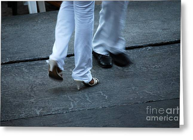 Musica Greeting Cards - Dancing Feet at the Dominican Republic Son Party Number One Greeting Card by Heather Kirk