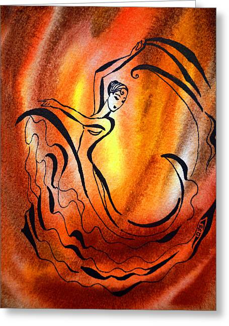 Expression Paintings Greeting Cards - Dancing Fire I Greeting Card by Irina Sztukowski
