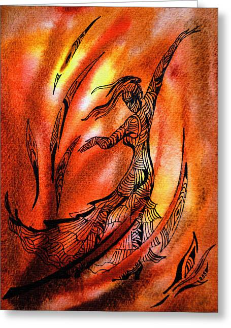 Tatoo Greeting Cards - Dancing Fire II Greeting Card by Irina Sztukowski