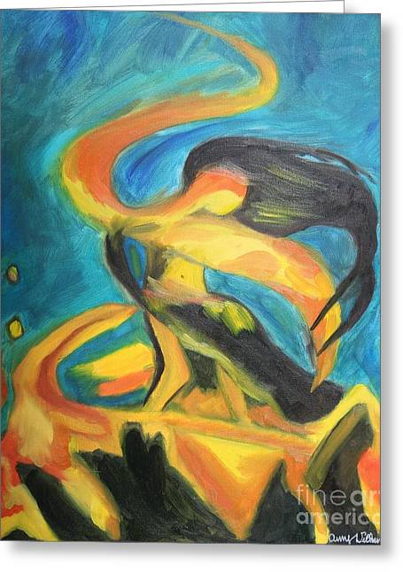 Dancing Fire - One Greeting Card by Amy Wilkinson