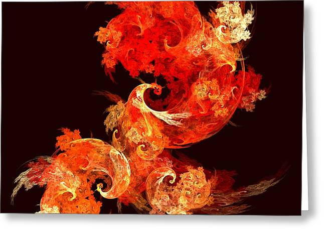 Abstract Art Prints Digital Art Greeting Cards - Dancing Firebirds Greeting Card by Oni H