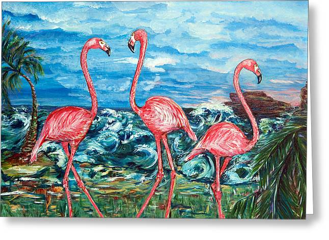 Recently Sold -  - Flower Design Greeting Cards - Dancing Flamingos  Greeting Card by Yelena Rubin