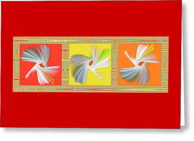 Dancing Flower Trio Greeting Card by Ben and Raisa Gertsberg