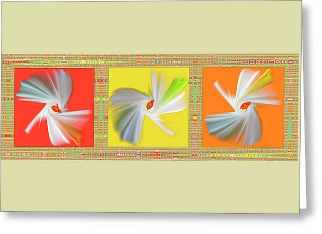 Geometric Artwork Greeting Cards - Dancing Flower Trio Greeting Card by Ben and Raisa Gertsberg