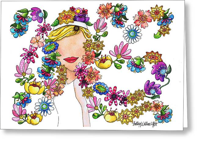 Floating Girl Greeting Cards - Dancing Flowers Greeting Card by Shelley Wallace Ylst