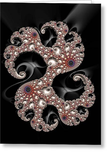 Dancing Fractal Spirals With Beautiful Colors Greeting Card by Matthias Hauser