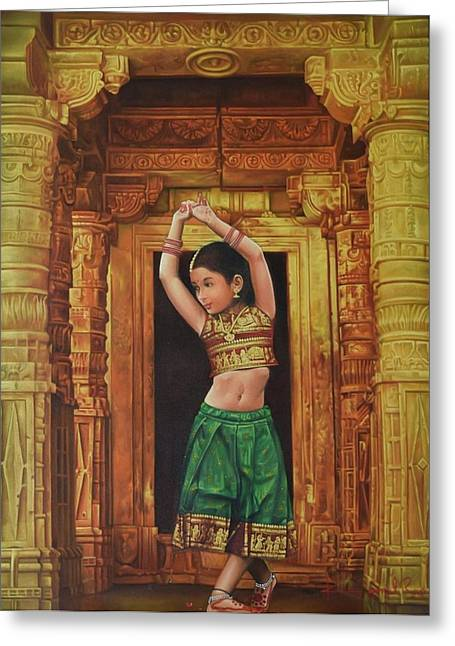 Gold Necklace Greeting Cards - Dancing Girl Greeting Card by Kamal  Rao
