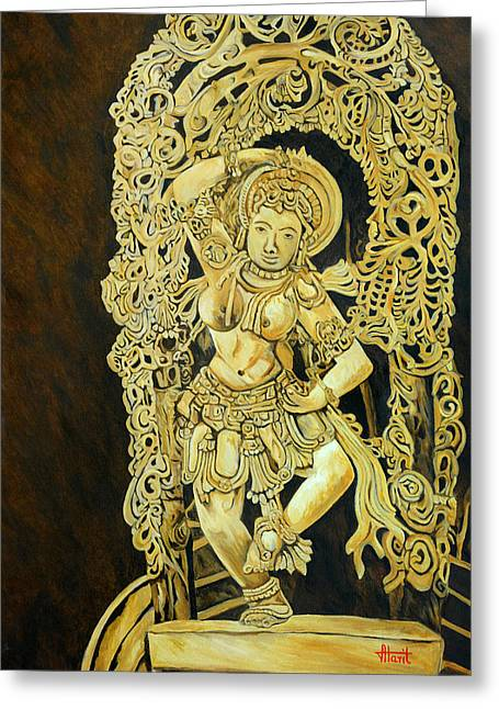 Hindu Goddess Greeting Cards - Dancing Girl - Yakshini Greeting Card by Ajay Harit