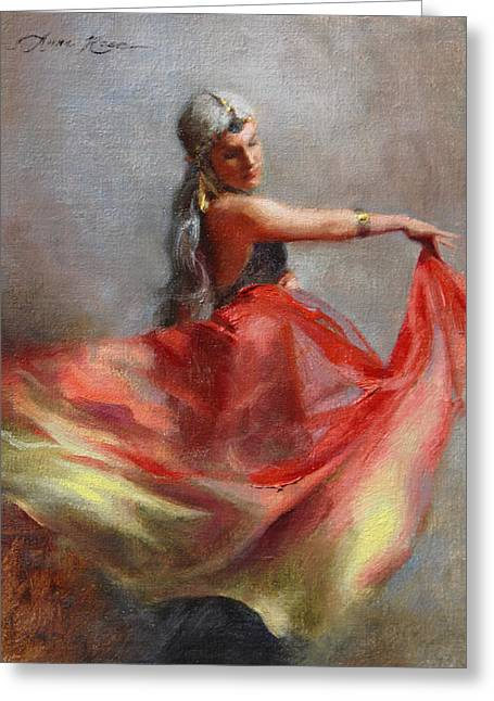 Gypsy Paintings Greeting Cards - Dancing Gypsy Greeting Card by Anna Rose Bain