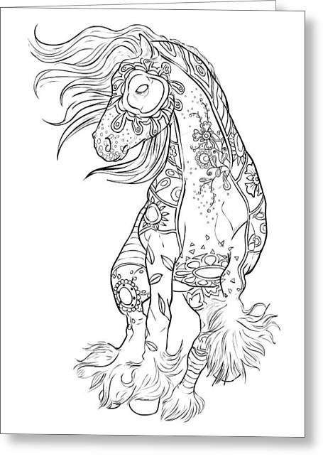 Dancing Gypsy Horse Zentangle Greeting Card by Cindy Elsharouni