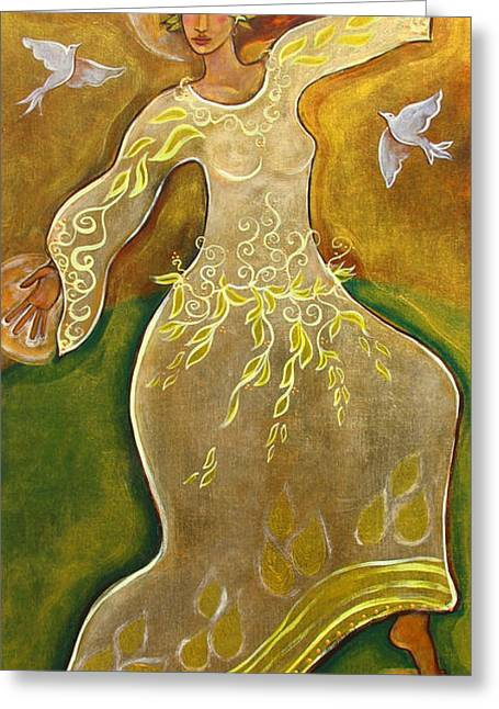 Doves Paintings Greeting Cards - Dancing Her Prayers Greeting Card by Shiloh Sophia McCloud
