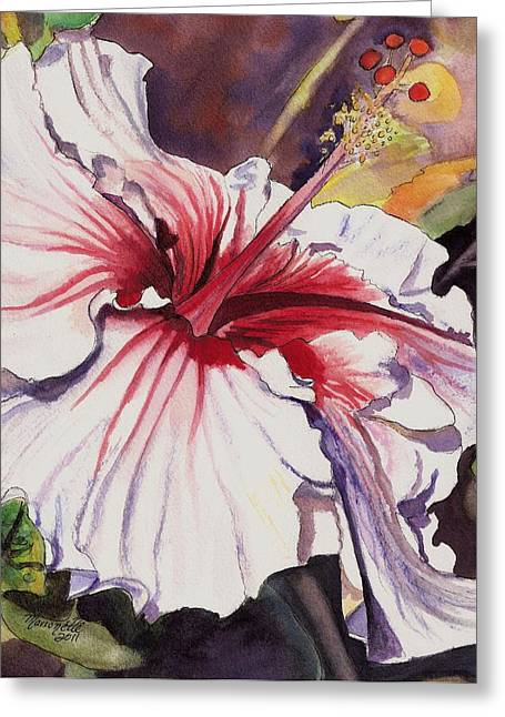 Marionette Greeting Cards - Dancing Hibiscus Greeting Card by Marionette Taboniar