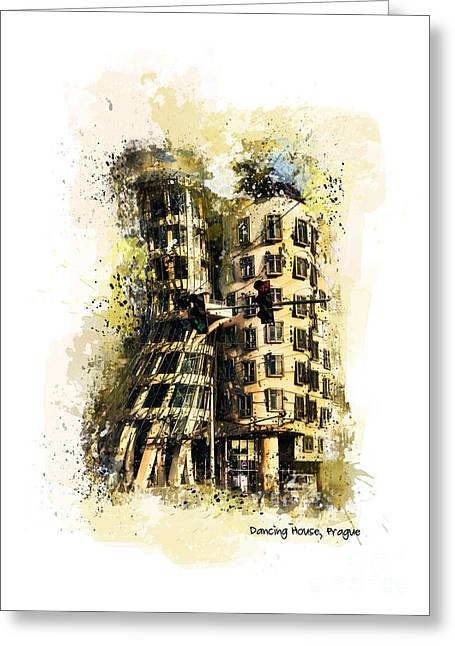Town Mixed Media Greeting Cards - Dancing House Prague Greeting Card by Justyna JBJart