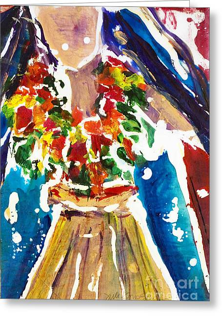 Island Cultural Art Greeting Cards - Dancing Hula Greeting Card by Julie Kerns Schaper - Printscapes