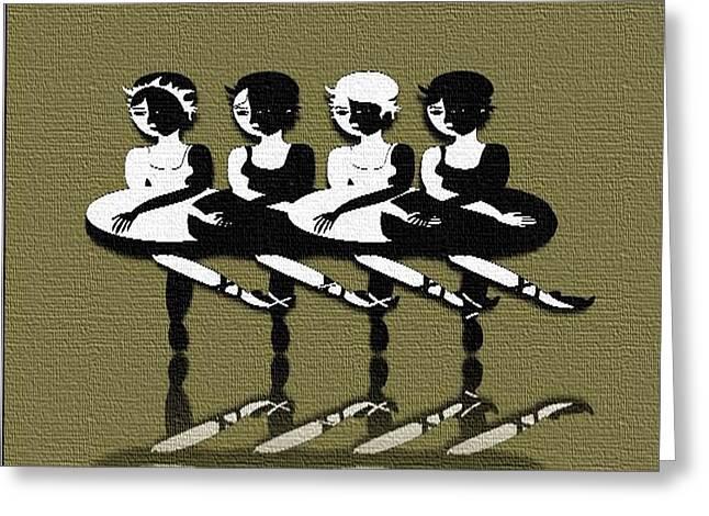 Ballet Dancers Drawings Greeting Cards - Dancing In Row Greeting Card by Belinda Threeths