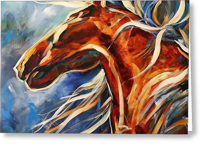 Contemporary Horse Greeting Cards - Dancing in the Moonlight Greeting Card by Laurie Pace